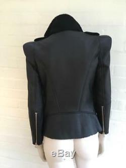 $10,450 Balmain Black Shearling Lined Biker Jacket Most Wanted Size F 36 XXS