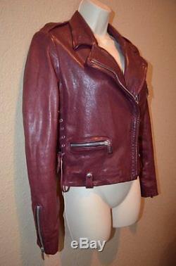$1176 Sz 38/4 Barbara Bui Maroon Leather Lace Detail Motorcycle Zipper Jacket