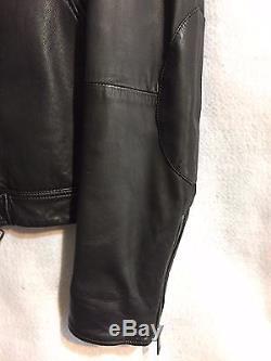$1195 Burberry Lambskin Leather Moto Biker Jacket, Medium, Black