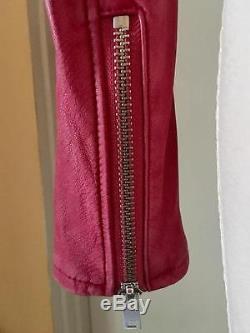 $1200 Iro Ashville Dark Pink Fuchsia Leather Jacket 40 Motorcycle Berry
