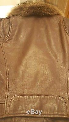 1290$ Theory Brown lamb leather moto biker jacket with fur collar size S