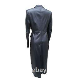 12 UK Karen Millen Classic Dark Brown Posh Soft Leather Longline Mac Jacket Coat