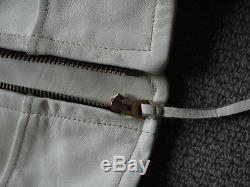 1940s Lost Worlds Trojan Sportswear White Horsehide Motorcycle Jacket Talon