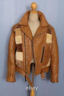 1940s Style PATCHWORK Grizzly D-POCKET Leather Motorcycle Jacket Large