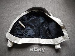1940s Trojan Sportswear White Steer Hide Motorcycle Jacket Talon Lost Worlds