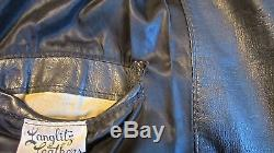 1988 #3207 Langlitz Columbia Black Goat Hide Leather Motorcycle Jacket Medium