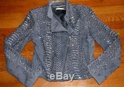 $1,496 Alice + Olivia Jace Embellished Dress Grey Leather Moto Jacket 4 6 SMALL