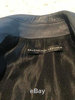 2012 Balenciaga Cyclone Grey Blue Leather Moto Motorcycle Jacket 38 US 2 or 4