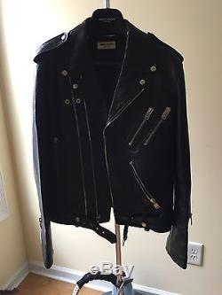 2013 FW Saint Laurent Men's Leather Biker Jacket Black Size 50