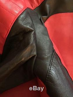 2015 BALMAIN x H&M RED LEATHER BIKER JACKET SIZE 38R Thriller Moto Motorcycle