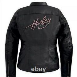 2 XLHarley Davidson Women's Black AND PINK BLING Leather Riding Jacket 2XL