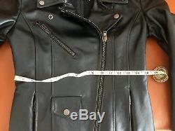 $3400 Maison Martin Margiela Biker Moto Leather Jacket Dark Green Sz 42 Italy