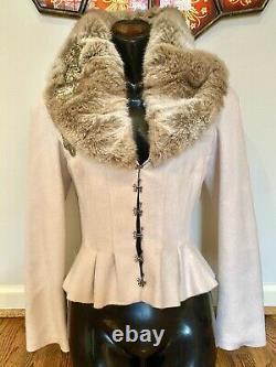 $3,240 CHLOE FUR Collar 2pc Dress SET Jacket 34 36 38 2 4 6 Coat Top Blazer S M