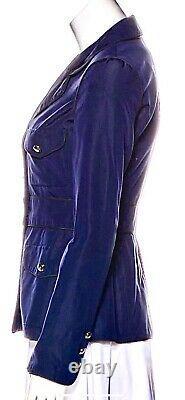 $4,250 Chanel 07a Blue CC Logo Dress Jacket 34 36 2 4 6 Suit Blazer Coat Top S M