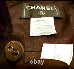 $4,460 Chanel 2002 Vintage Brown Logo Coat 34 36 38 2 4 6 Jacket Top Blazer S M