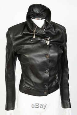 80s Claude Montana Paris Black Lambskin Leather Jacket sz 40 US 6 Double Collar