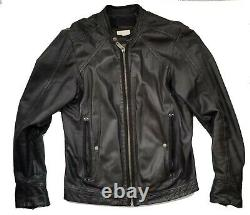 $950 Authentic Rare DIESEL Men's Soft Genuine Leather Black Biker Jacket