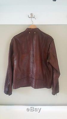 $998 Brown Coach Bleecker Leather Jacket Mens Large L Sheepskin Cafe Moto Racer