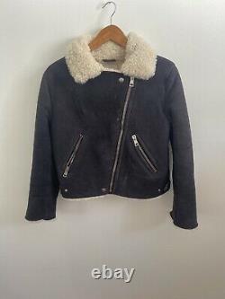ACNE Rita Black Shearling Suede Leather White Crop Raw Moto Biker Jacket 34/2