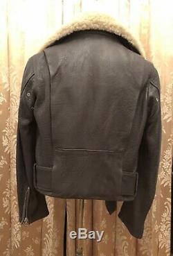 ACNE STUDIOS Mape Paw Lamb Leather Shearling Collar Moto Biker Jacket Purple 36
