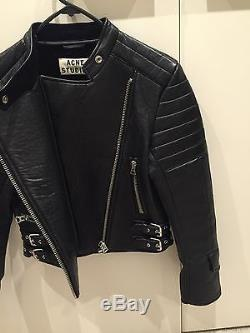 ACNE STUDIOS Moi Quilted Panel Leather Biker Jacket RRP $2700 Size 36