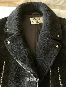 ACNE STUDIOS Moto Jacket Black Shearling Sz 40