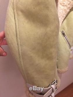 ACNE STUDIOS Shearling Velocite Suede Leather Jacket (size 38)