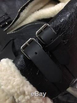 ACNE VELOCITE CRACKED LEATHER JACKET AWith16 BLACK SIZE 38
