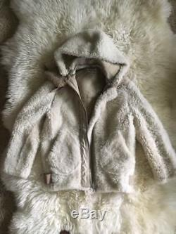 ACNE VELOCITE Reversed Shearling Leather JACKET Coat Beige SIZE 32