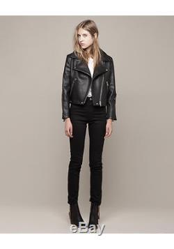 ACNE rita black motorcycle aviator leather jacket sz 34 US 0 AU 6
