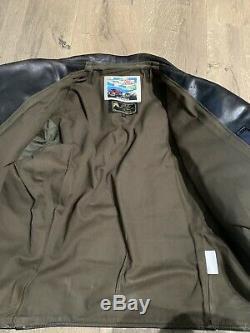 AERO BOOTLEGGER Leather Jacket 42 Horsehide Thurston Bros Black Brown Undertones