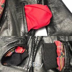 AERO Highwayman Deluxe Vintage 80's Steerhide Black Leather Motorcycle Jacket 42