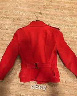 Alexander Mcqueen Red Leather Moto Jacket Size 36