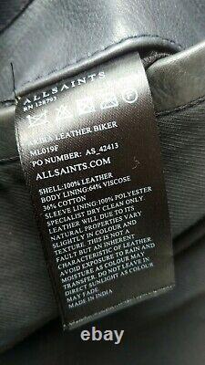 ALL SAINTS Akira Leather Biker Jacket, Black, Mens Sz Medium, NO RESERVE