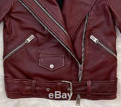ALL SAINTS Harland Biker Moto Leather Motorcycle Jacket Bordeaux US 2 UK 6 $500+