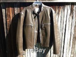 AMAZING VTG Mens THEDI HORSEHIDE FQHH Brown Leather Cafe Racer Motorcycle Jacket