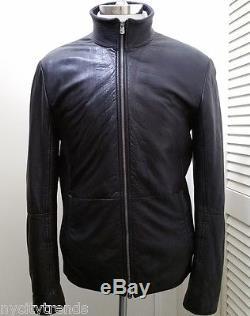 ARMANI black leather jacket bomber cafe racer motorcycle moto biker classic nr L