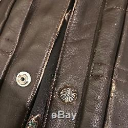 AUTHENTIC 1980s Vintage Chrome Hearts Brown Leather Jacket M
