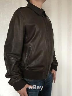 AUTH Burberry Brit Mens Leather Jacket Moto Biker Bomber Brown Size M Nova Check