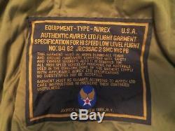 AVIREX Type B-7 NO84 62 Black Leather Bomber BIKER Hi Speed Flight Jacket