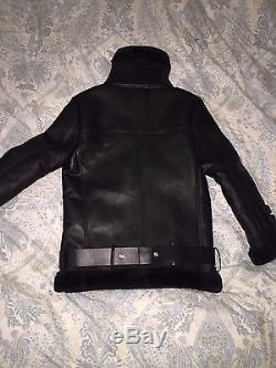 Acne Studio Leather Lamb Fur Oversized Jacket in Velocite Black