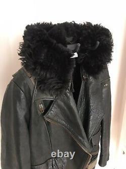 Acne Studios Black Leather Biker Jacket SZ Women 38 Shearling Hood Cropped