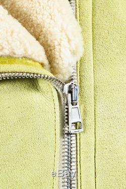 Acne Studios Lime Green Cream Shearling Suede Fur Long Sleeve Moto Jacket SZ 40