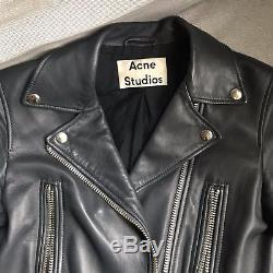 Acne Studios Mock Moto Leather Jacket Steel Grey Size 34 with Tags