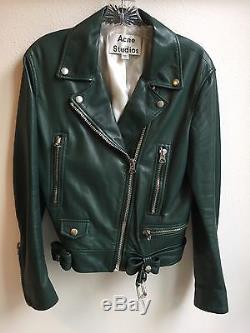 Acne Studios Moto Dark Green Lambskin Leather Jacket Size 40