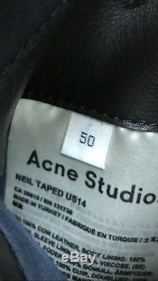 Acne Studios Neil Taped Mens Biker Moto Leather Jacket Black 50 / M