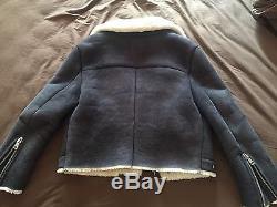 Acne Studios Rita Shearling Winter Coat Jacket Women Navy Medium Size 40