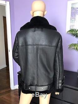 Acne Studios Velocite Oversized Shearling Jacket Coat Black EU 36 S
