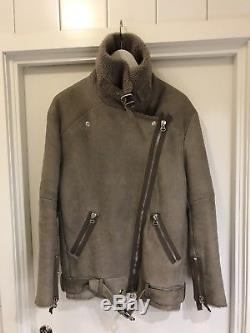 Acne Studios Velocite Shearling Lined Leather Biker Jacket size 34