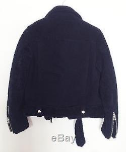 Acne Studios shearling leather jacket, Style Mock Shearling, Dark Navy, Size 36